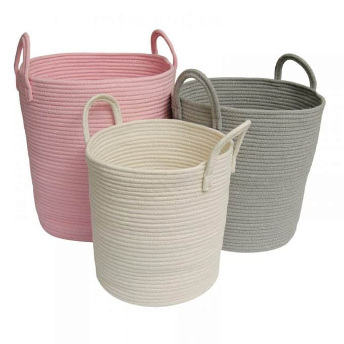 Cotton Rope Baskets - Grey